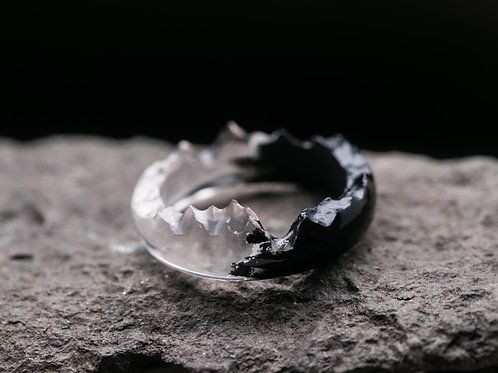 Wood resin Ring Black and White