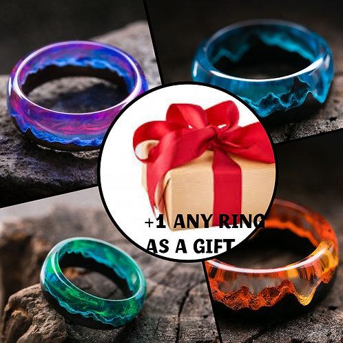 Set of Rings 4pcs Wood resin