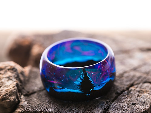 Norway Lights Forest Wood resin Ring