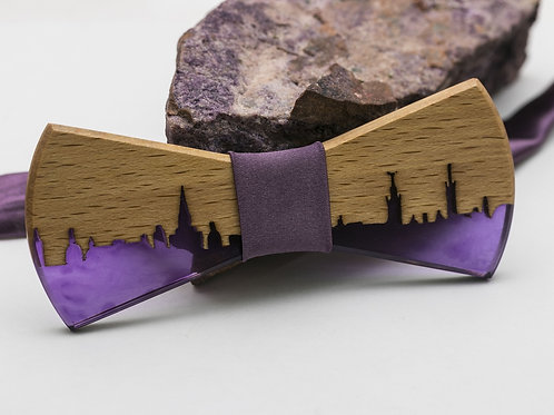 Wooden resin Bowtie City Purple