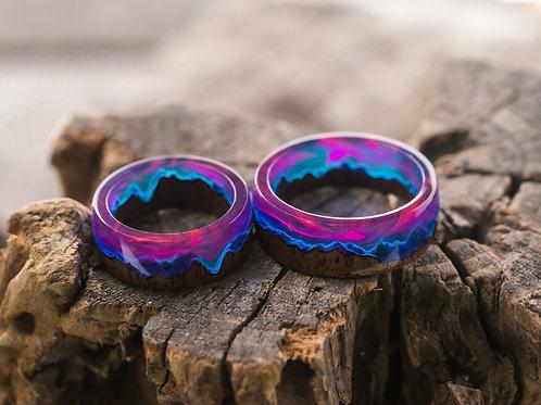 Engagement Rings 2pcs Norway Lights Wood resin