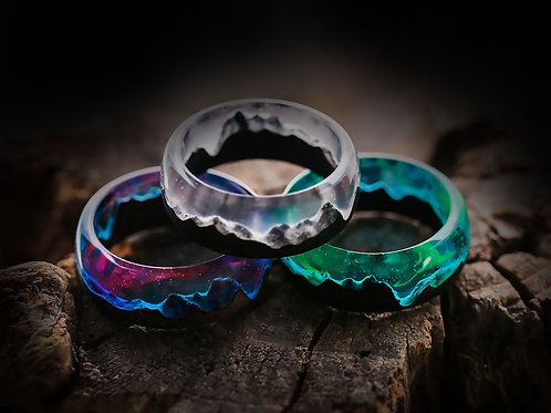 Set of Rings 3pcs Wood resin