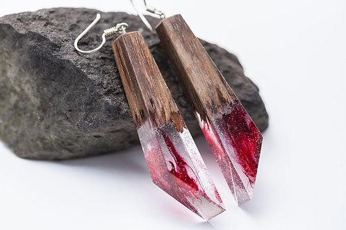 Wood resin Earrings Volcano