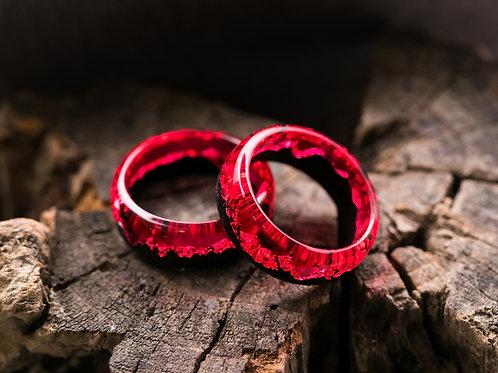 Engagement Rings 2pcs Scarlet Wood resin