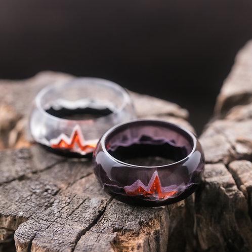 Engagement Rings 2pcs Heart Beat Wood resin