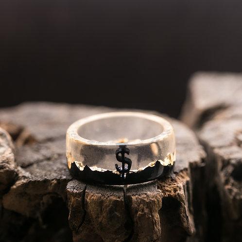 Wood resin ring Gold Dollar
