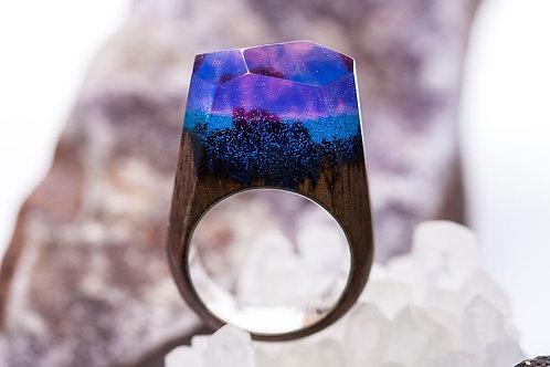 """Wooden Ring """"Aurora Borealis"""""""