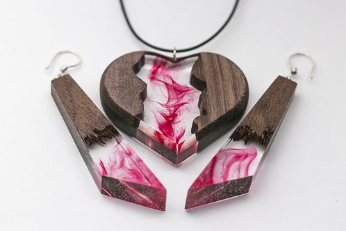 Wooden Set Heart (pendant & earrings)
