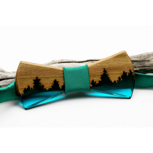 Green forest Wooden resin Bowtie