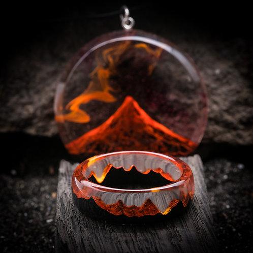Wooden Set Volcano (ring & pendant)