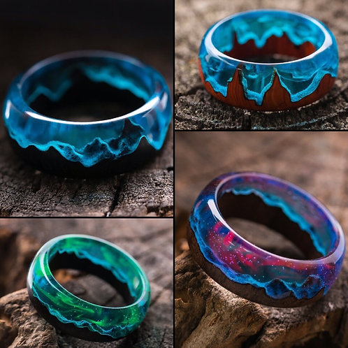 Set of Rings 4pcs Wood resin