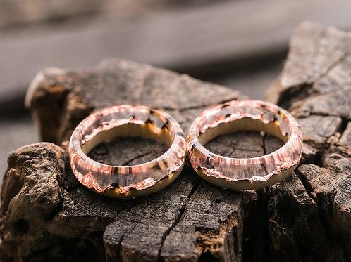 Engagement Rings 2pcs Carbon Wood resin