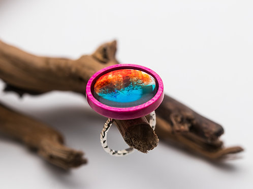 Wood Resin Ring Palette #5 Pink