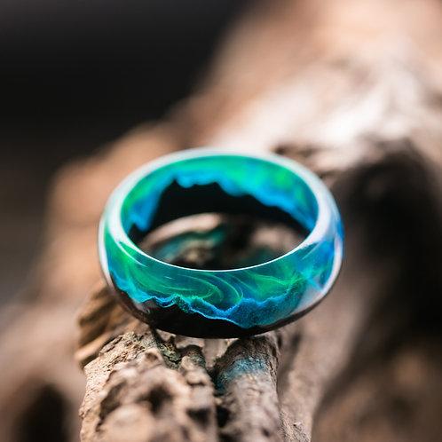 Polar Night Wood resin Ring