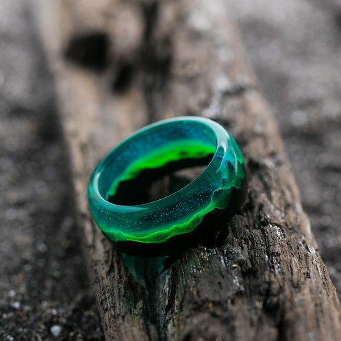Polar Night Wood resin Ring