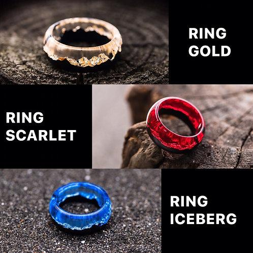 Set of Rings 3pcs Wood resin