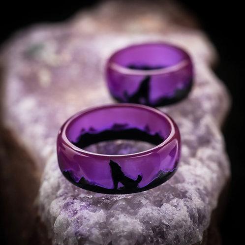 Engagement Rings 2pcs Wolf Wood resin