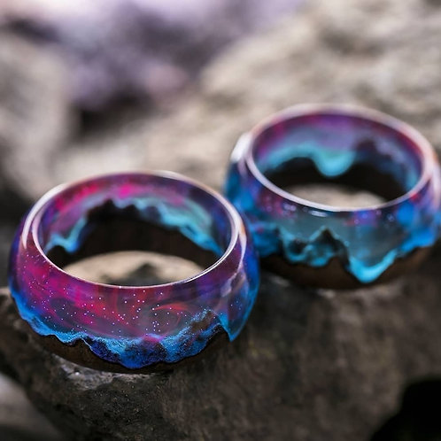 Engagement Rings 2pcs Norway Lights Wood resin