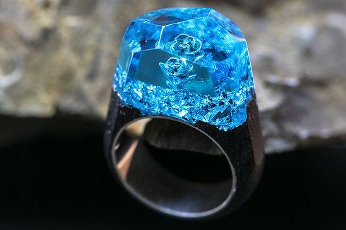 Wooden Ring Blue Rose