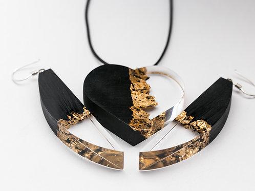 Комплект Golden Heart (кулон+серьги)