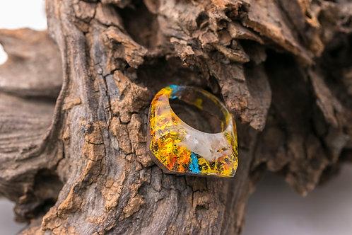 Wood resin Ring Eternity Autumn