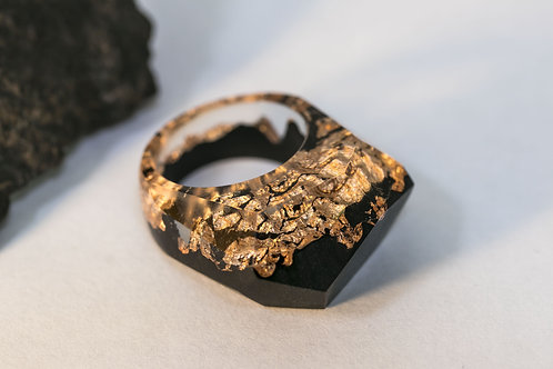 Wood Ring Eternity Gold