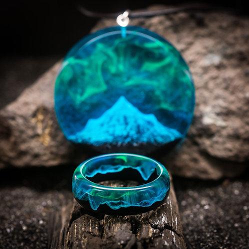 Комплект Полярная Ночь (кулон+кольцо)