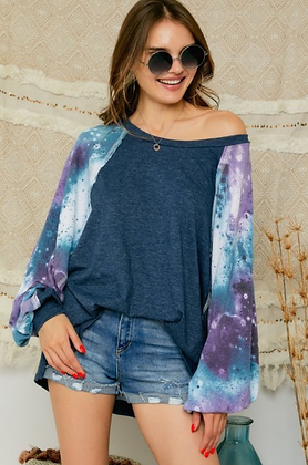 Denim Blue Tunic Top with Tie Dye Sleeves