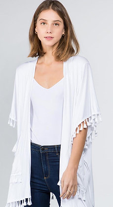 Solid Kimono with Tassels
