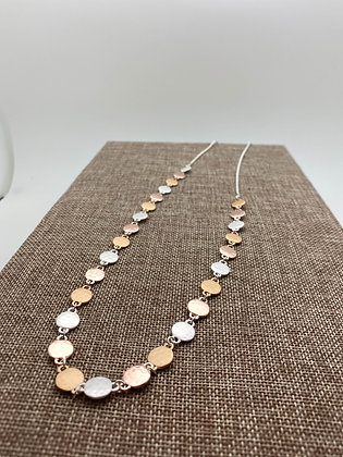 Long Necklace with Brushed Gold and Silver Circles and Polished Rose Gold Circle