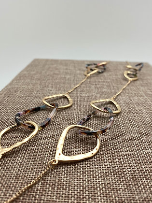 Long Gold Necklace with Gold and Multicolored Lucite Interlocking Rings