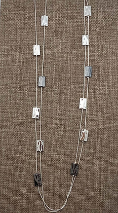 Long 36-inch Double Stranded Necklace with Rectangular Accents