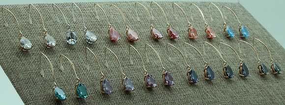Fish Hook Earrings with a Cubic Zirconia Teardrop Faceted Stone