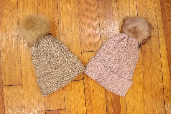 Heathered Knit Hat with Cuff and Sherpa Lining