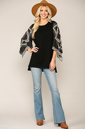 Black Tunic Top with Scarf Sleeves