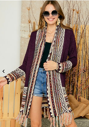 Duster Sweater in Cranberry with Aztec Trim