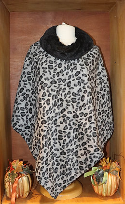 Leopard Fleece Poncho with Faux Fur Trim