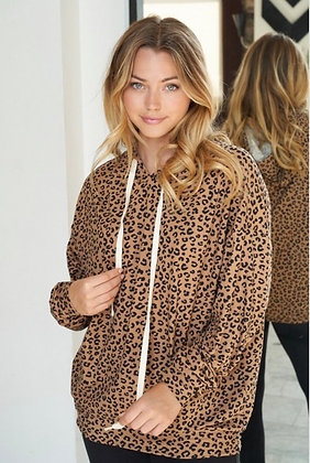 Tan Leopard Hooded Sweatshirt
