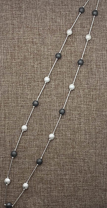 Long Brushed Silver and Gunmetal Circle Necklace with Silver Bars in Between