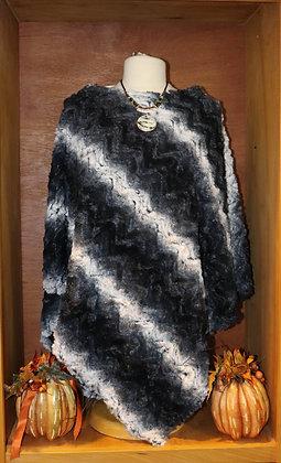 Black Ombre Faux Fur Poncho