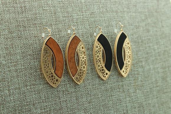 Light Balsam Wood Earrings with Gold Laser Cut Pattern