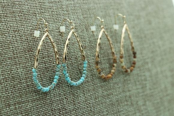 Tear Drop Semi Precious Earrings