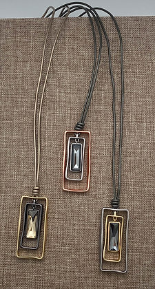 Long Leather Cord Necklace with Rectangular Boxed Black Diamond