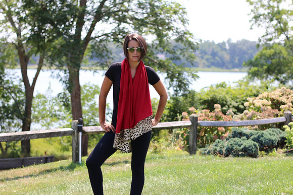 Solid Poncho with Leopard Trim