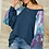Thumbnail: Denim Blue Tunic Top with Tie Dye Sleeves