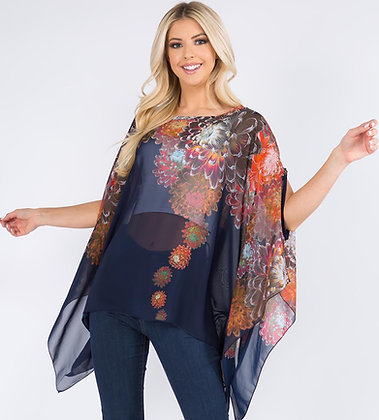 Transparent Floral Poncho