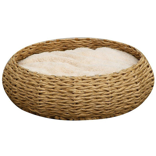 Pet Pals Woven Round Basket Pet Bed with Pillow