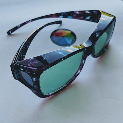 Mutli-colour tortoiseshell frame with turquoise lens