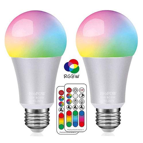 Led Smart Colour Bulbs: 10W RGBW Colour Changing - 120 Colours (set of 2)