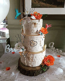 Silver birch wedding cake with burnt ora